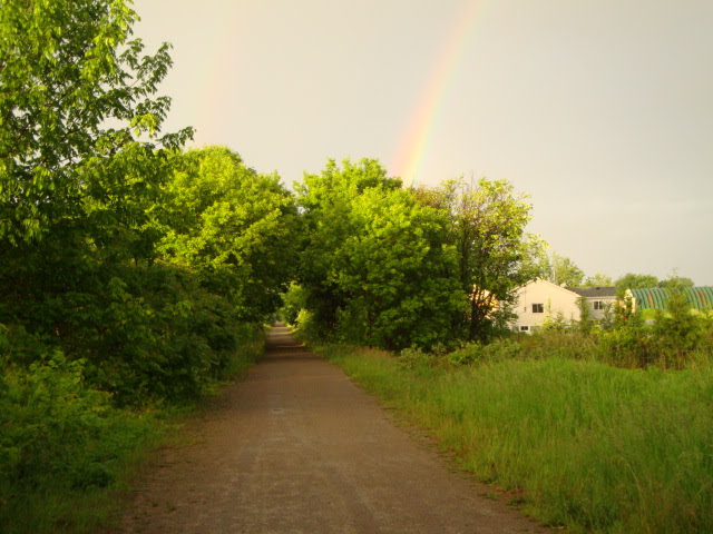 Trans Canada Trail with rainbow over Heart's Content Organic Farm